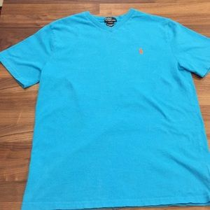 Polo V-Neck Tee, Faded Turquoise, Youth XL, 18/20